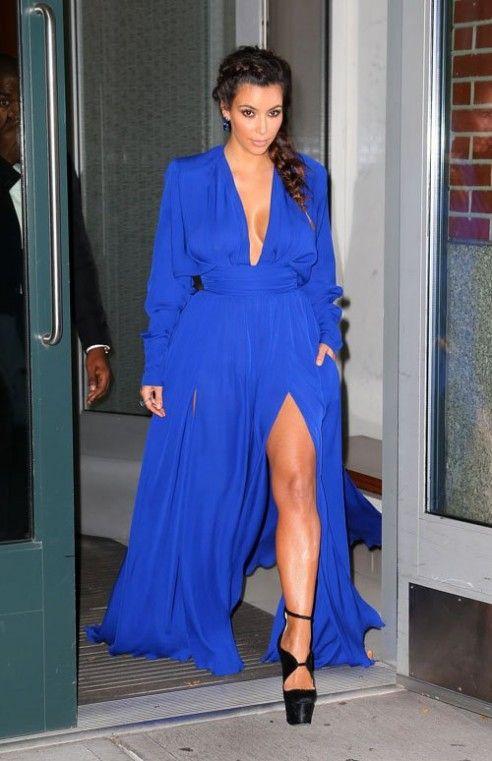 Kim Kardashian - Balmain Blue Dress Birthday Gift in Paris