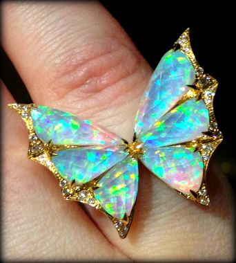 Detail: Opal and diamond butterfly ring by Stephen Webster. Via Diamonds in the Library.