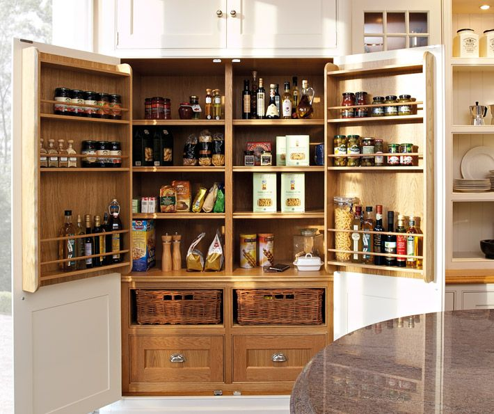 Big larder with extra storage on the doors, classic painted kitchen by Tom Howley