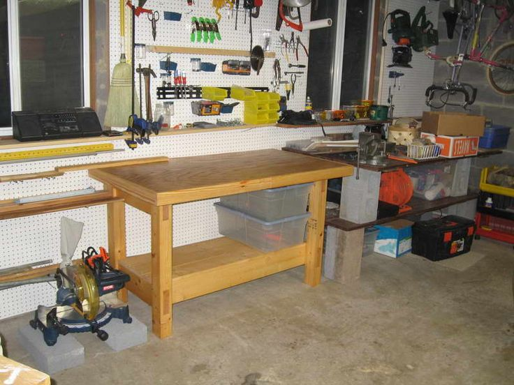 how to build a workbench along garage wall