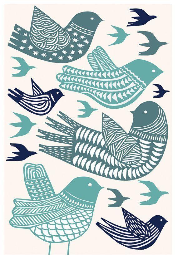 birds in flight 13x19 archival print by swallowfield on Etsy
