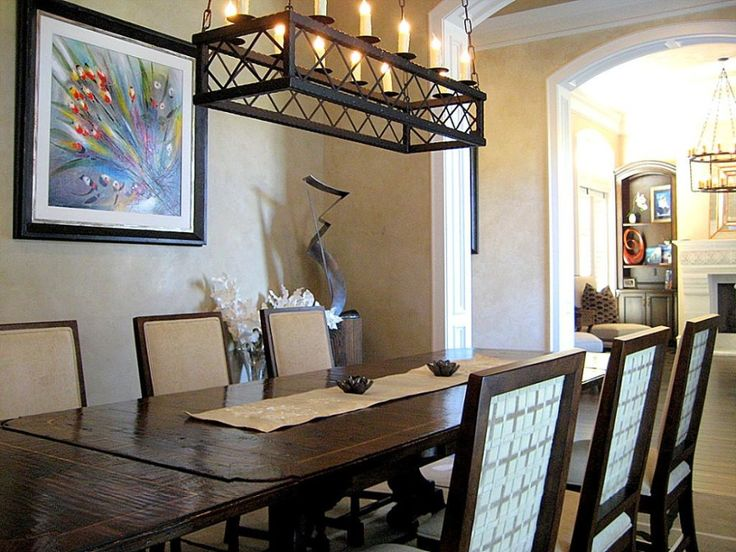 Interior Lighting Rustic Black Rectangle Chandelier Over Traditional Dining  Set In Dining Room Lighting Ideas Tips