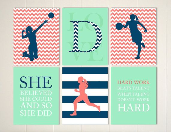 Volleyball Girl, Basketball Girl, Runner, Mint Color Girls Room, Navy, Coral