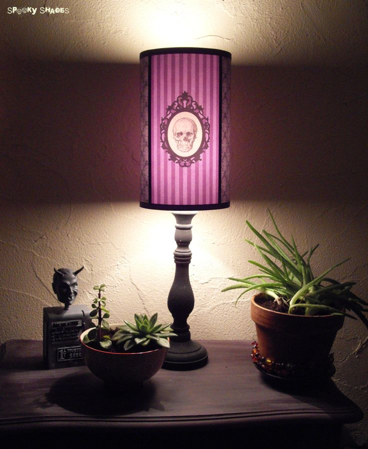 Baroque Skull Purple Lamp Shade Lampshade pastel by SpookyShades
