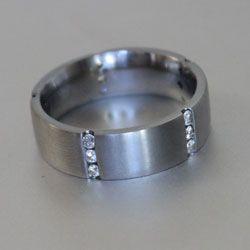 Titanium ring with 15 white diamonds
