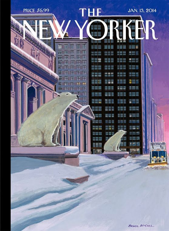 Bruce McCall (1935- ), Canadian / 'Polar Bear on Fifth Avenue' cover of The New Yorker magazine, January 13, 2014 depicting polar bears instead of lion statues Patience and Fortitude in front of The New York Public Library while plow clears away snow