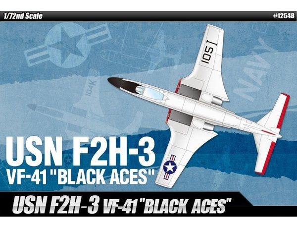 """The Academy 1/48 F2H-3 Banshee USN VF-41 """"Black Aces"""" from the plastic aircraft model kits range accurately recreates the real life US Navy aircraft."""