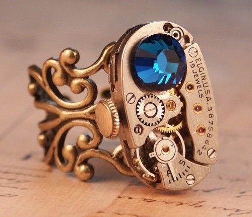 Steampunk Ring Jewelry - Elgin Clockwork - Blue Swarovski Crystal