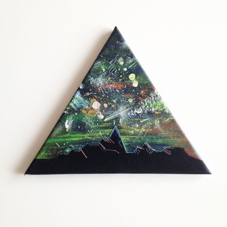 The space of a triangle.  Embroidered on acrylic paint.  2016 illustration