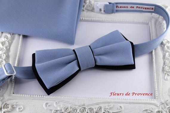 Set Noeud Papillon double et pochette costume Bleu et Bleu
