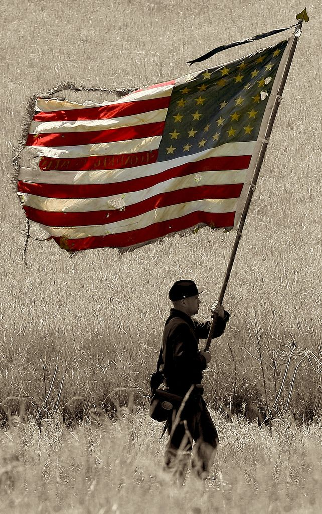 """Old Glory - American Flag - USA"" ~ This is a great photo that was taken during the Civil  War Reenactment - Battle of Chancellorsville in Fredericksburg, Virginia, on May 4, 2008."