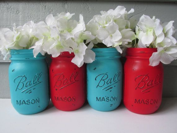 Painted and Distressed Ball Mason Jars- Medium Turquoise and Bright Primary Red-Set of 4-Flower Vases, Rustic Wedding, Centerpieces