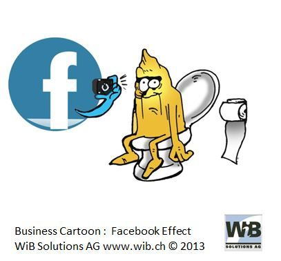 Business Cartoon Facebook Effect by WiBi and WiB Solutions Switzerland. Check for more on management thinking mistakes at www.managementthinkingmistakes.ch