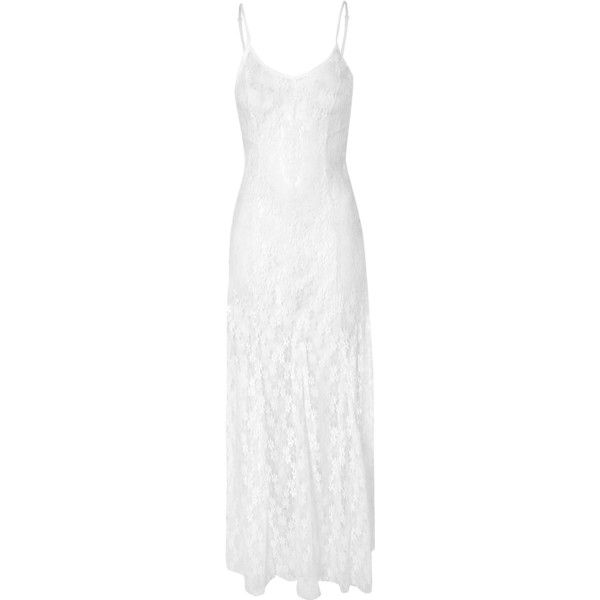 White Maxi Dress with Lace Detailing AS WORN BY DAISY LOWE ($28) ❤ liked on Polyvore featuring dresses, white, daisy dress, high-low dresses, semi sheer maxi dress, summer maxi dresses and going out dresses