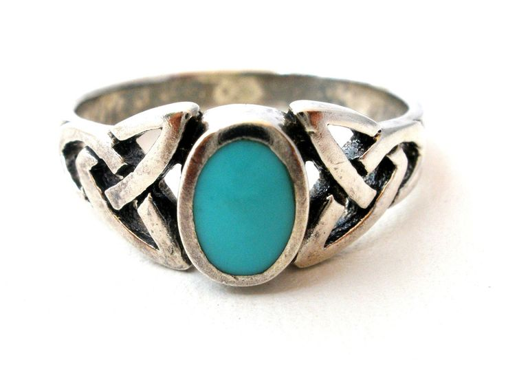 Blue Gemstone 925 Jewelry - This is a size 6 sterling silver ring with an inlay…