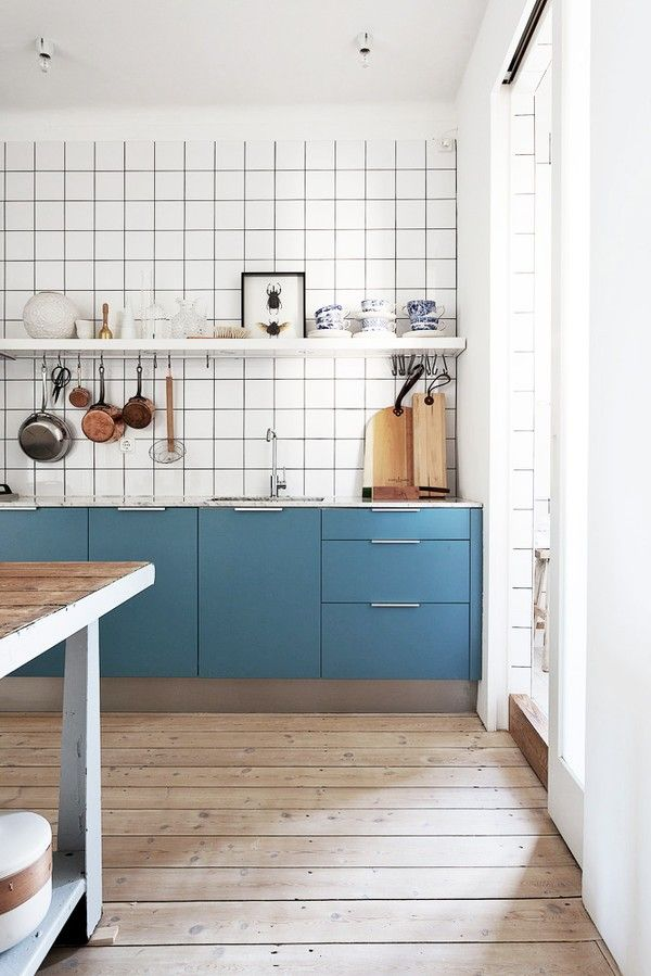 tile + wood + blue // love the mix of modern & rustic like the floor -laundry room reno