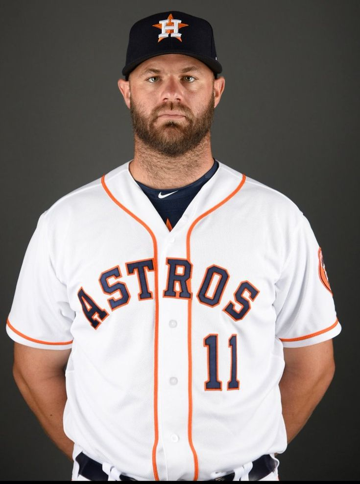 Feb 19, 2017; West Palm Beach, FL, USA; Houston Astros designated hitter Evan Gattis (11) poses during spring training media day at The Ballpark of the Palm Beaches. Mandatory Credit: Steve Mitchell-USA TODAY Sports