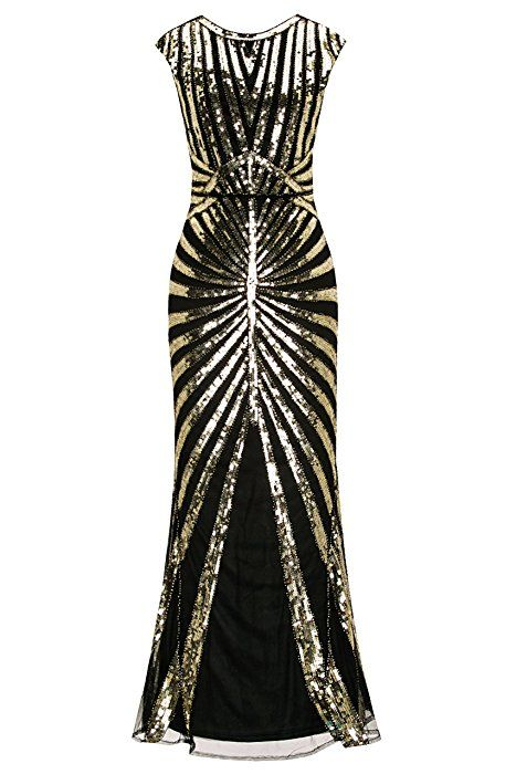Metme Women s 1920s Vintage Prom Fringed Sequin Long Flapper Roaring Gatsby  Dress For Party (XL 0b6843e06aad