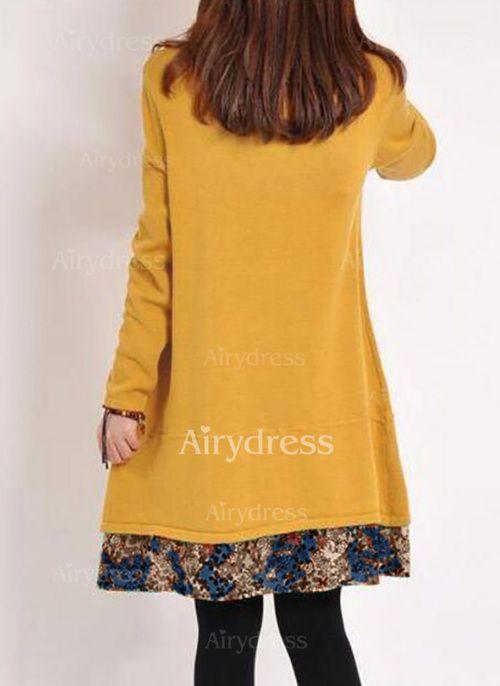 c9026c8ac Vestidos Informal Sobre las rodillas Manga larga Bloque de color Bolsillos  - Airydress