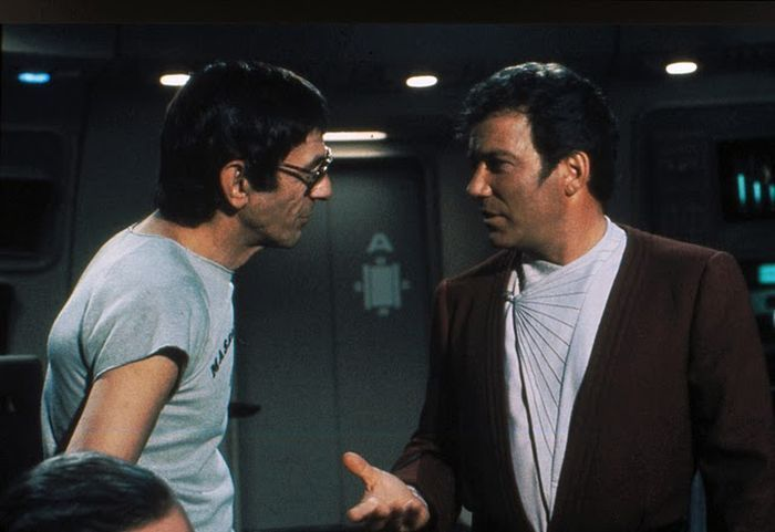 William Shatner and Leonard Nimoy on set