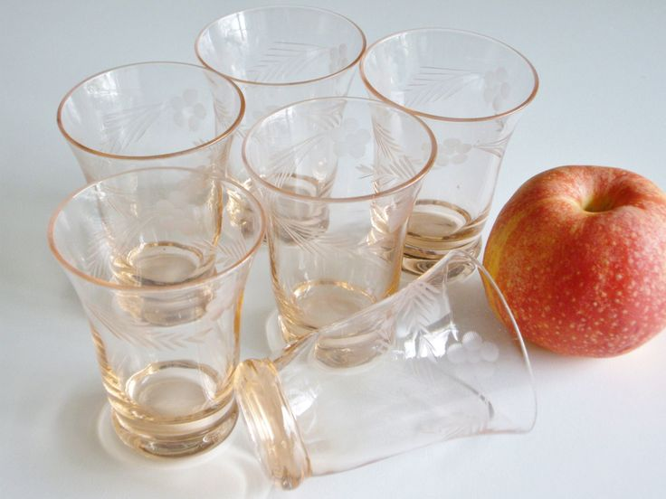 Vintage Juice Glasses Cordial Glasses Liqueur Glasses Pale Peach Pink Wheel Cut Flowers and Leaves Set of 6 by Vintagerous on Etsy