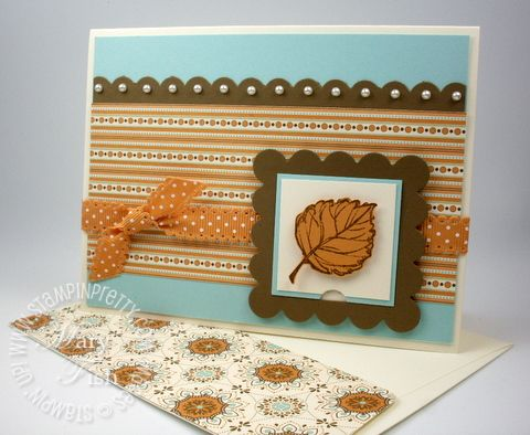 Stampin up fall card idea peekaboo frame die spice cake gently falling
