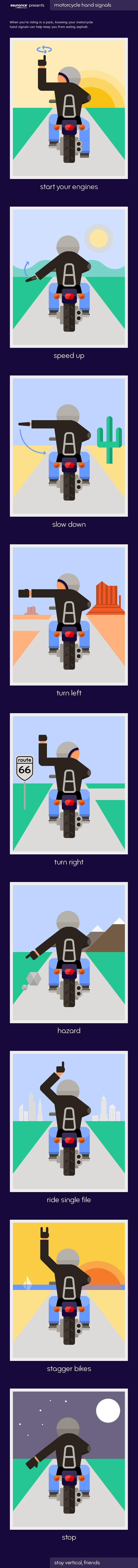 """Motorcycle riders use a variety of signals to indicate everything from """"slow down"""" to """"watch out, hazard ahead."""" Check out the infograph to see the top 9 motorcycle hand signals."""