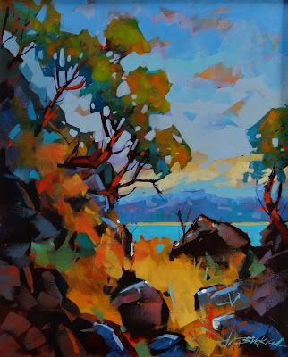 Canadian artist Brian Buckrell - Colour of Gabriola - Acrylic Wonderful colours and confident brush work.