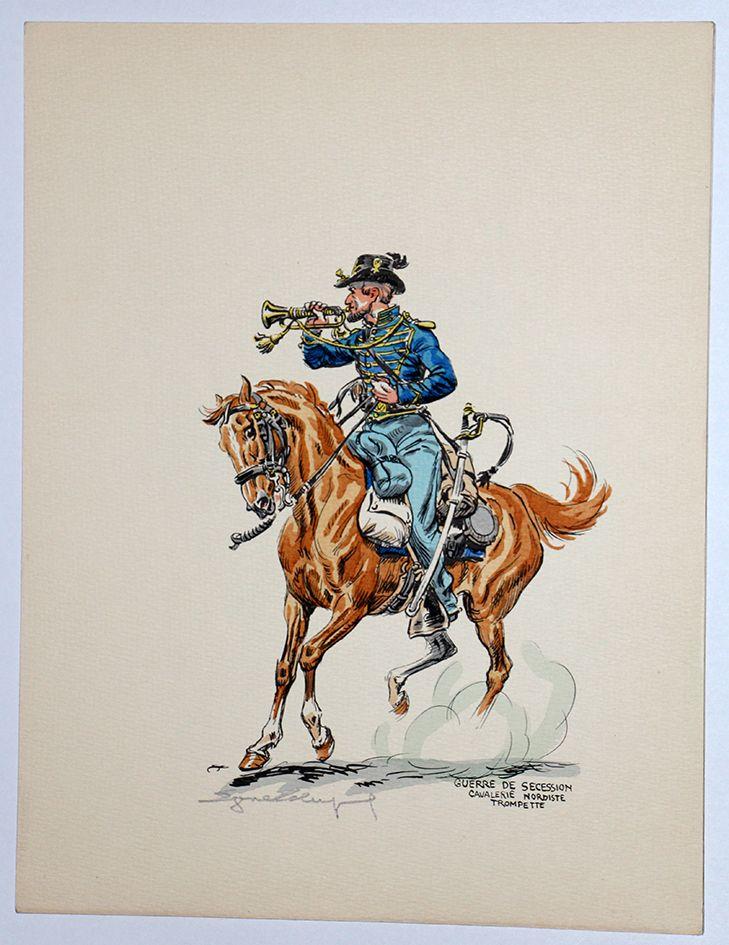 Guerre de Secession Sudiste Eugene Leliepvre.  Union cavalry bugler.