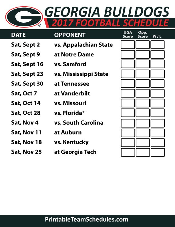 2017 Georgia Bulldogs Football Schedule