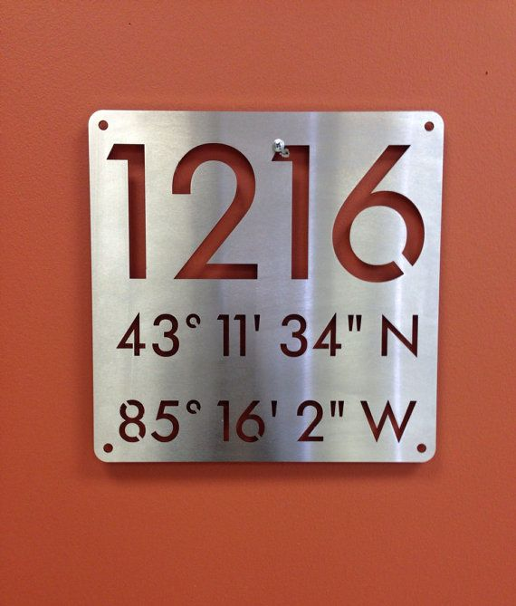 Custom steel metal address plaque to include house number and navigational nautical coordinates. 12x12 Navigational Coordinate stainless steel sign is made from 16g Stainless Steel professionally laser cut in our Michigan shop. Also available in US steel in a powder coat finish. Silver, matte black, white, red, rust colored and caramelized copper colors available! Custom sizes and colors upon request