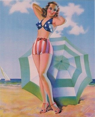 Patriotic illustration.: At The Beaches, Pop Art, Stars, Pinup Girls, Bath Suits, Patriots Pinup, Pinup Art, Vintage 4Th, Pin Up Girls