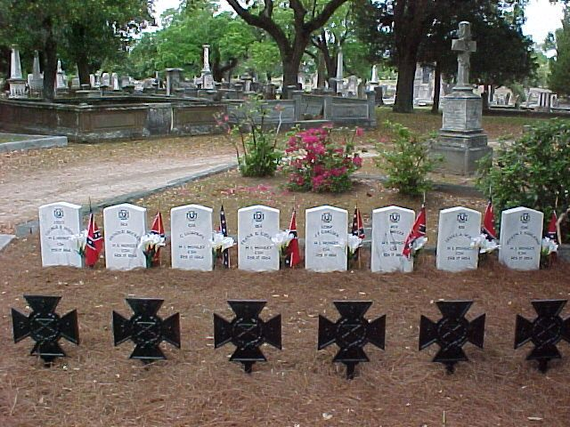The graves of the crew of the Confederate submarine H.L. Hunley. Magnolia Cemetery, Charleston, SC