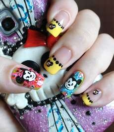 This 'Disney Babies' Nail Design is Bright and Bejewelled #valentinesday trendhunter.com