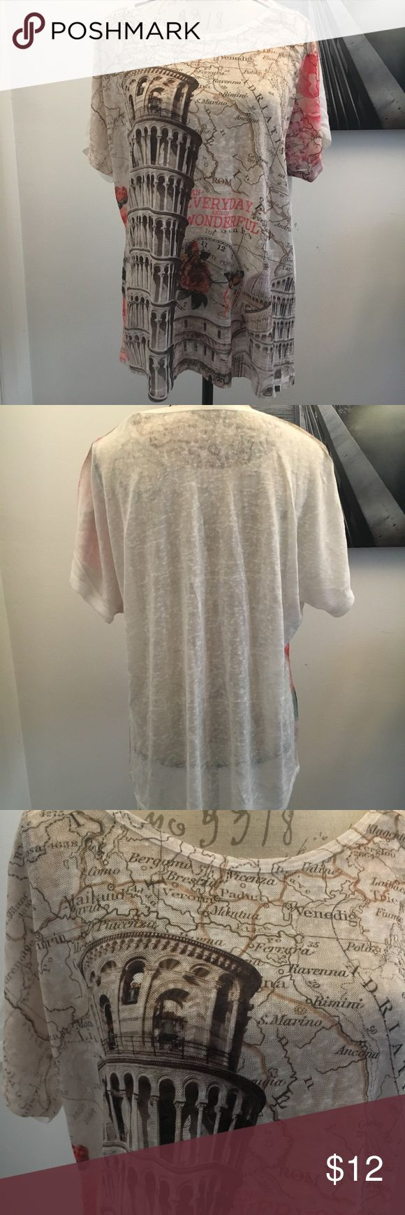 Purchased in Rome never worn 🇮🇹 Top with soft detail presenting part of the map of Italy with the Leaning Tower of Pisa. Accented with beautifully shaded roses. Very soft and relaxed feel. Tops