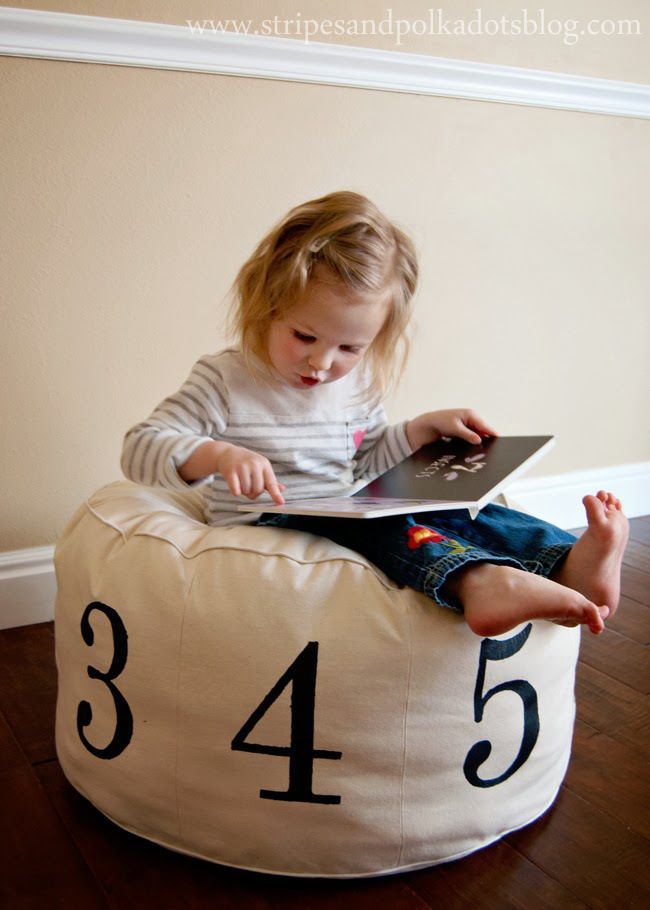 Why pay $100 for a Land of Nod numbered pouf, when you can make your own for a fraction of the cost?  Step by step directions for creating your won numbered pouf are included.