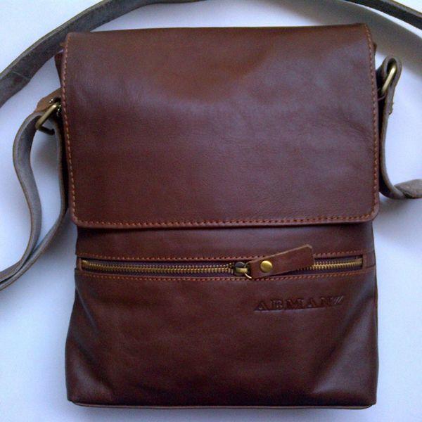 Tas selempang kulit asli casual resleting depan