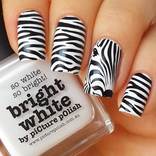 black and white nail design - zebra print