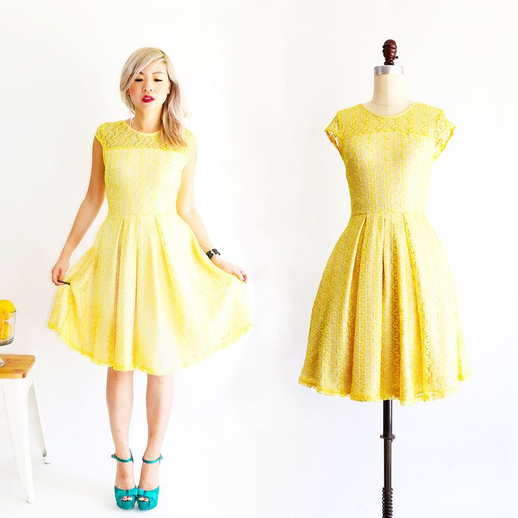 GOSSAMER | Lemonade -  lemon yellow lace bridesmaid dress with short cap sleeves. modest vintage inspired cocktail dress with pockets by ShopApricity on Etsy https://www.etsy.com/listing/475974683/gossamer-lemonade-lemon-yellow-lace