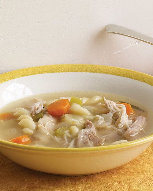 This comforting soup, made with homemade turkey stock, is perfect for warming up on a chilly night.