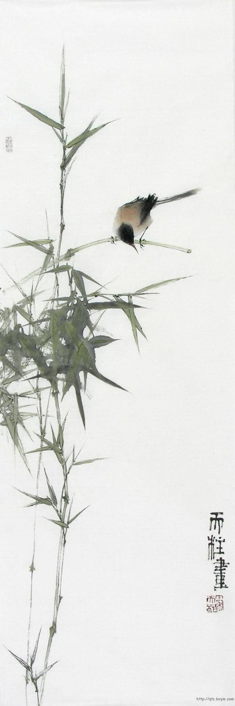 ♂ Asian ink art Chinese watercolor Bamboo and bird Qin Tianzhu