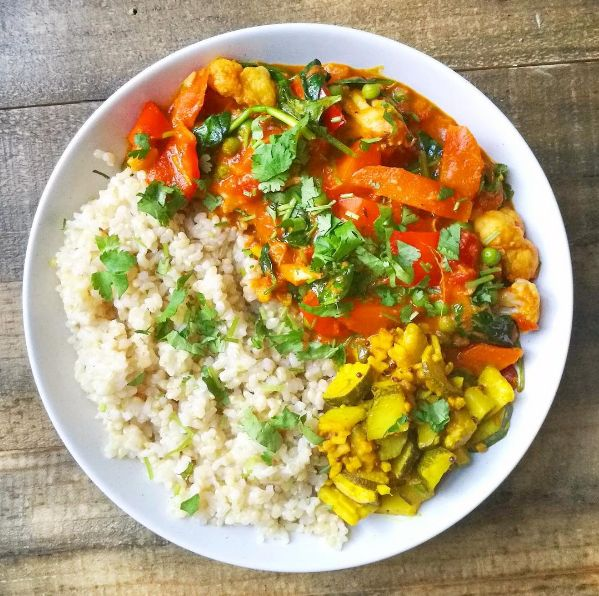Curried veg with lime and chilli pickle and brown rice