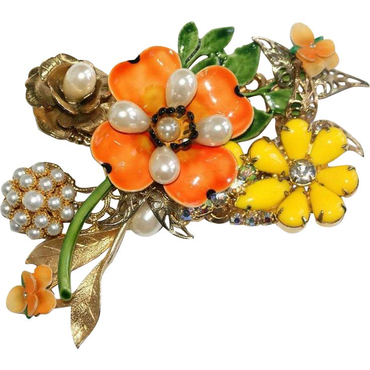 Sold - Original By Robert Enamel OOAK Floral Pin Brooch
