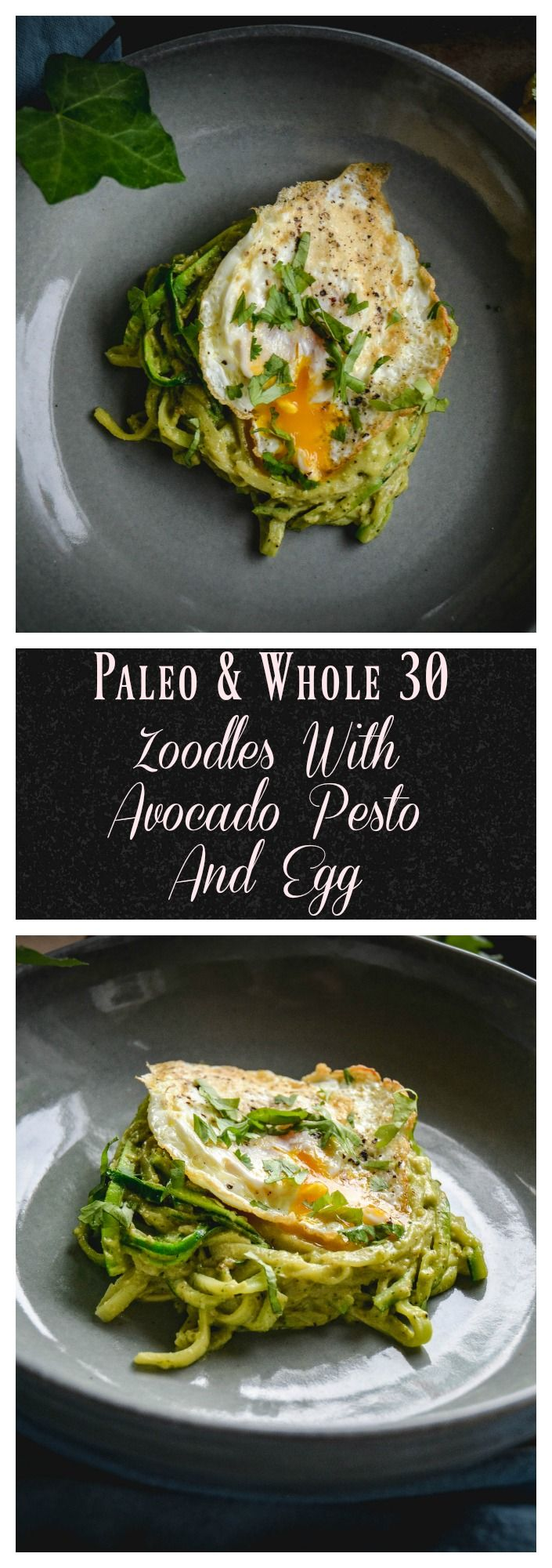 A speedy dish for when you haven't gotten much on hand. Zucchini noodles (zoodles), avocado pesto and a fried egg. It's paleo, whole 30 and is a 10 minute dinner. #whole30, paleo, #quickmeals #zoodles