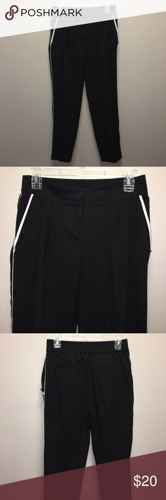 Loft Pants Solid Black. Size 0. Stretch waistband. White lining on pockets and front side. LOFT Pants