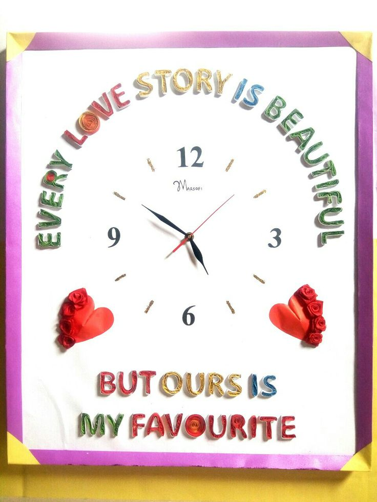 Quilled letters on an handmade wall clock by marsofi crafts