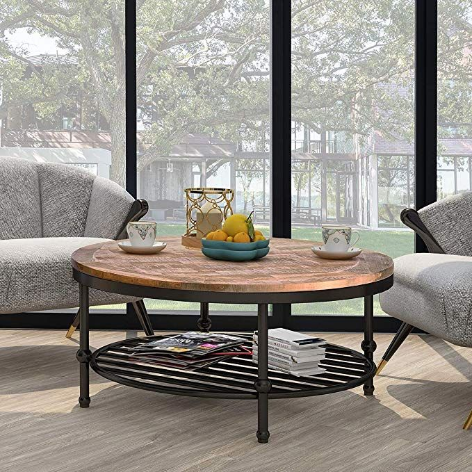 P Purlove Easy Assembly Hillside Rustic Natural Coffee Table With
