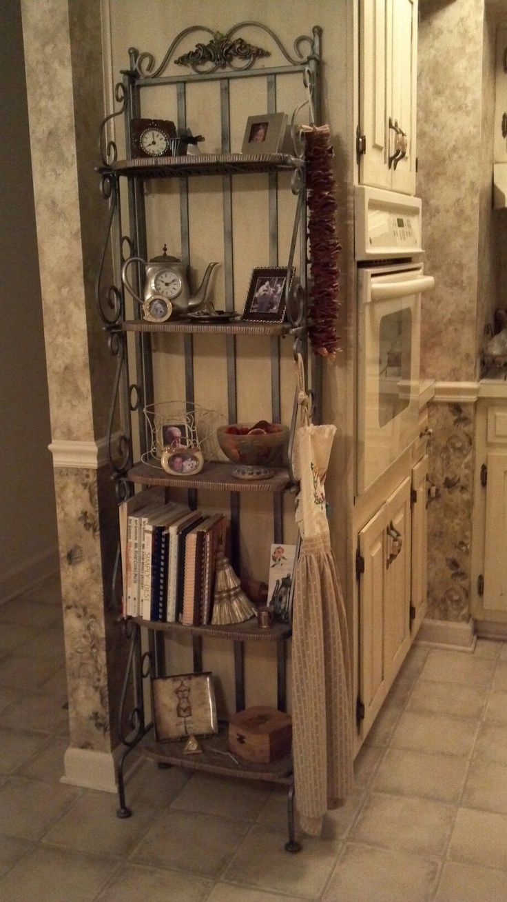 Bakers rack decorating ideas - Exciting And Nice Corner Bakers Rack For Your Furniture Decor Idea Iron Rustic Pine Corner