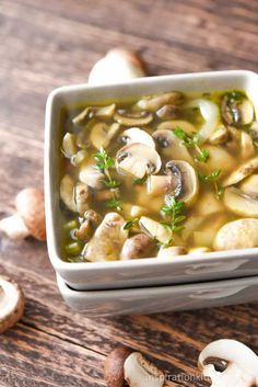 Healthy Mushroom Soup | Inspiration Kitchen 2 tablespoons unsalted butter 1 cup carrots peeled and diced 1 cup onions sliced 1 cup sliced leeks halved and sliced � cup sliced celery 3 large garlic cloves coarsely chopped (approx. 1 and � tablespoons) 2 teaspoons fresh thyme leaves 2 pounds mushrooms rinsed and thickly sliced 6 cups chicken stock (or approx. 3 (14.5 ounce) cans) 1 teaspoon sea salt � teaspoon cracked black pepper