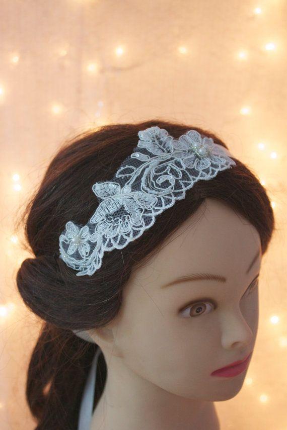 Lace and ribbon Ivory wedding headpiece, bridal headpiece, lace headband, flower headpiece, ribbon headpiece, wedding tie accessory